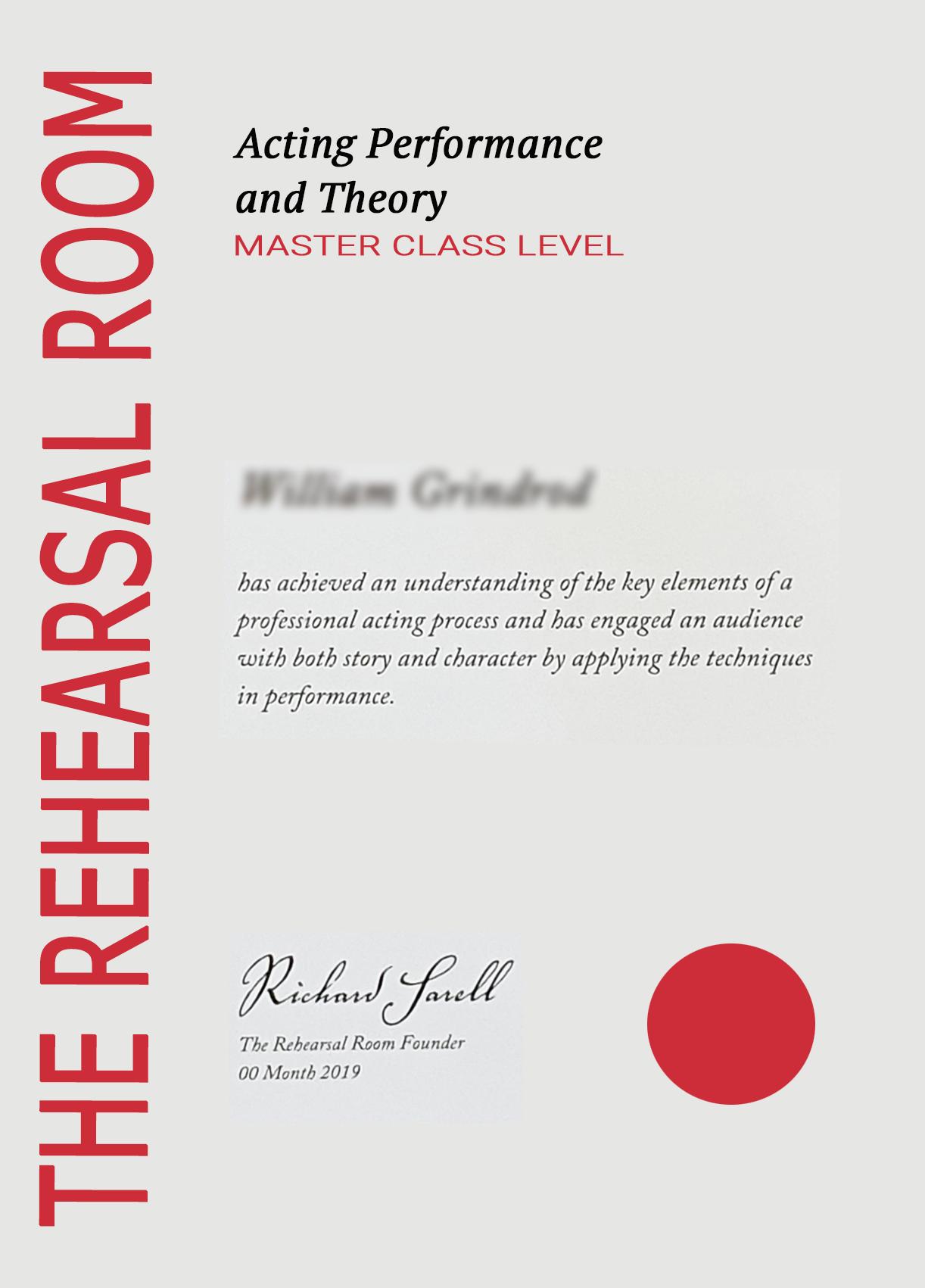 Graduate Certificate for MASTER CLASS actors